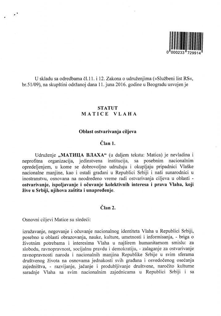 Statut Matice Vlaha